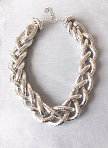 Chunky Silver Plait Style Necklace