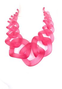 Pink Frosted Chunky Chain Statement Necklace
