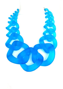 Blue Frosted Chunky Acrylic Chain Statement Necklace