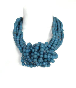 Chunky Blue Beaded Knot Style Statement Necklace