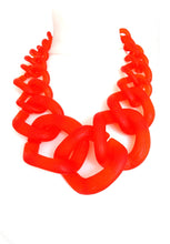 Load image into Gallery viewer, Orange Frosted Chunky Acrylic Chain Necklace