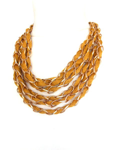 Mustard Yellow and Gold Chain Layered Statement Necklace