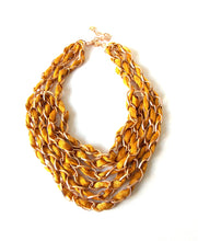 Load image into Gallery viewer, Mustard Yellow and Gold Chain Layered Statement Necklace