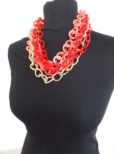 Chunky Acrylic Coral Chain Statement Necklace
