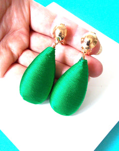 Clip On Emerald Green Woven Drop Earrings