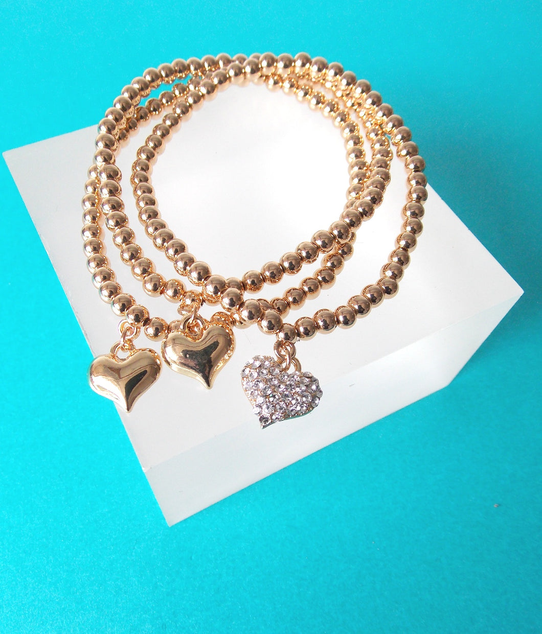 Gold Crystal Heart Stretch Stacking Bracelet Set