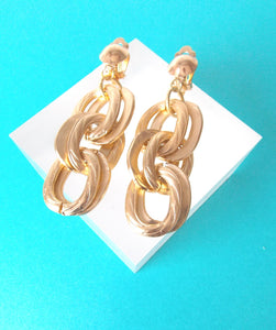 Clip On Gold Chain Earrings