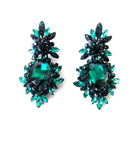 Green Jewelled Statement Earrings