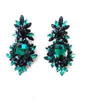 Load image into Gallery viewer, Green Jewelled Statement Earrings