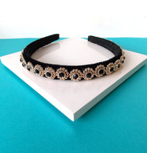Load image into Gallery viewer, Mini Black Jewelled Handmade Headband