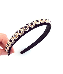Mini Black Jewelled Handmade Headband