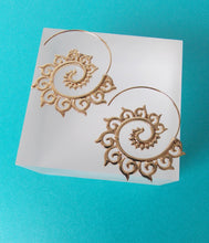 Load image into Gallery viewer, Gold Spiral Boho Hoop Earrings