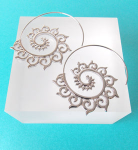 Silver Spiral Boho Hoop Earrings