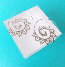 Load image into Gallery viewer, Silver Spiral Boho Hoop Earrings