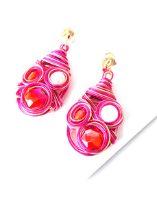 Clip On Pink Wire Wrap Earrings