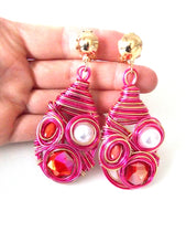 Load image into Gallery viewer, Clip On Pink Wire Wrap Earrings