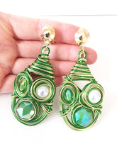 Load image into Gallery viewer, Clip On Green Wire Wrap Earrings