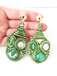 Clip On Green Wire Wrap Earrings