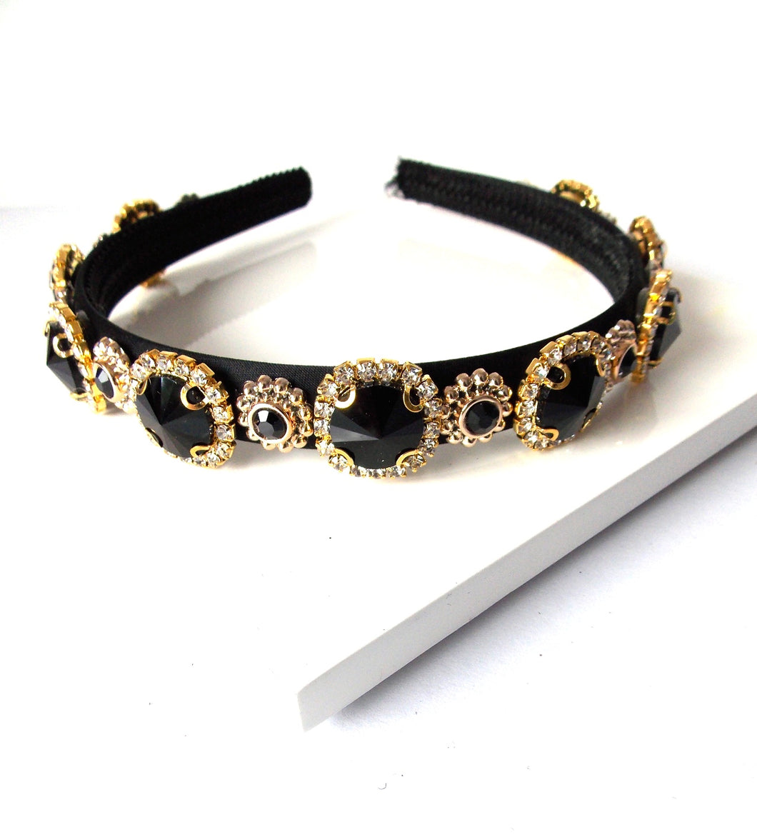 Black Crystal Jewelled Handmade Headband