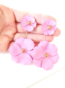 Pink Floral Drop Earrings