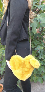 Mustard Faux Fur Cross Body Bag