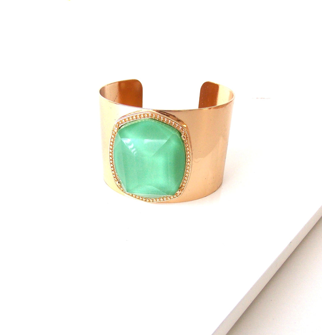 Green and Gold Stone Cuff Bracelet