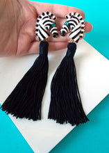 Load image into Gallery viewer, black and White Zebra Tassel Earrings