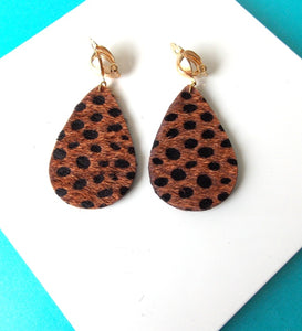 Brown Leopard Print  Clip On Earrings