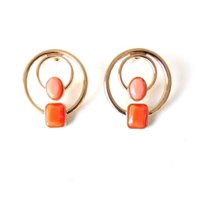 Coral Circle Stud Earrings