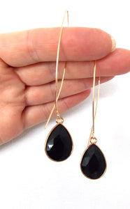 Black Teardrop Pull Through Earrings