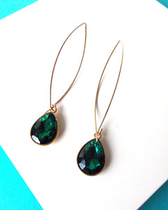 Emerald Green Pull Through Earrings