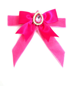 Pink Velvet Jewelled Bow Brooch