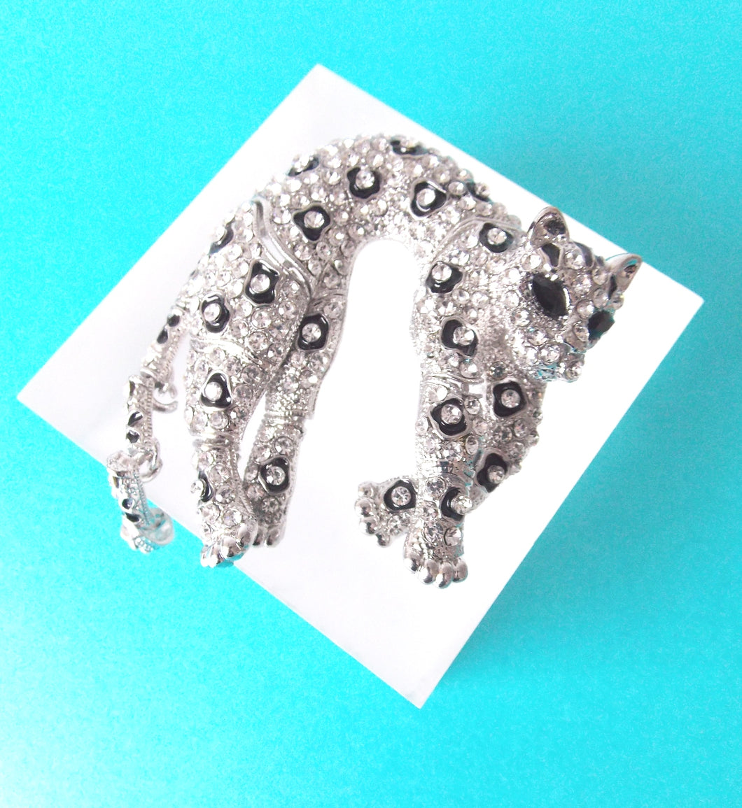 Silver Crystal Panther Brooch