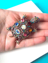 Load image into Gallery viewer, Multi Coloured Jewelled Tortoise Brooch
