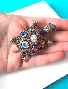 Multi Coloured Jewelled Tortoise Brooch