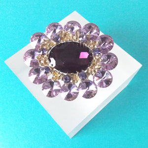 Lilac Jewelled Statement Brooch