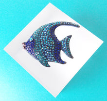 Load image into Gallery viewer, Blue Jewelled Fish Brooch