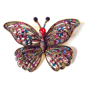 Jewelled Vintage Style Butterfly Brooch