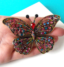 Load image into Gallery viewer, Jewelled Vintage Style Butterfly Brooch