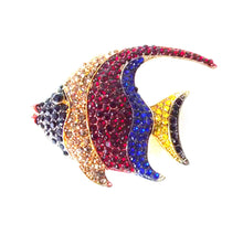Load image into Gallery viewer, Multi Coloured Jewelled Fish Brooch