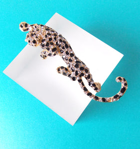Black and Gold  Crystal Panther Brooch