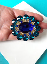 Load image into Gallery viewer, Teal Jewelled Statement Brooch