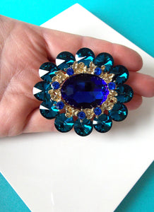 Teal Jewelled Statement Brooch