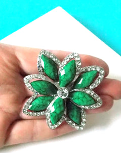 Green and Crystal Vintage Style Brooch