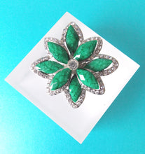 Load image into Gallery viewer, Green and Crystal Vintage Style Brooch