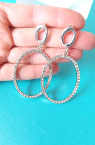 Silver Crystal Oval Earrings