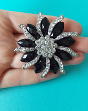 Load image into Gallery viewer, Black and Crystal Jewelled Brooch
