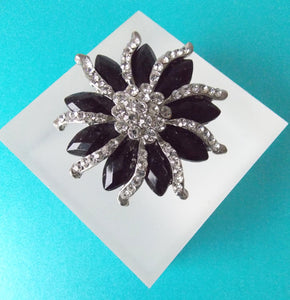 Black and Crystal Jewelled Brooch