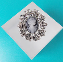 Load image into Gallery viewer, Silver Crystal Cameo Brooch