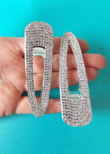Load image into Gallery viewer, Set of 2 Silver Crystal Hair Slides